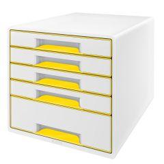 Suport plastic cu 5 sertare pentru documente, alb/galben, Wow Cube Leitz