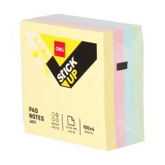 Notes autoadeziv cub 76mm x 76mm, 400 file/set, culori pale, Deli