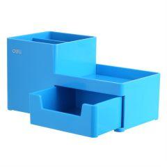 Suport accesorii birou, albastru deschis, 3 compartimente si sertar, 25130 Deli