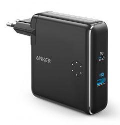 Incarcator de retea si baterie externa, 5000mAh, conectivitate USB si USB-C, negru, Anker PowerCore