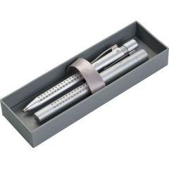 Set stilou si pix plastic, corp argintiu, Grip 2011 Argintiu, Faber Castell