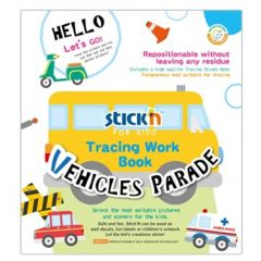 Carte de colorat si decupat Tracing Work Book - Vehicles Parade Stick'n