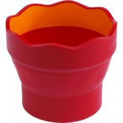 Pahar plastic pentru spalat pensule, rosu, Click-go Faber Castell