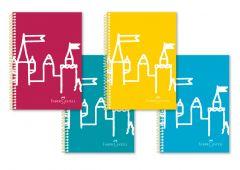 Caiet cu spira A4, 80file, matematica, coperta PP color, Motive Faber Castell