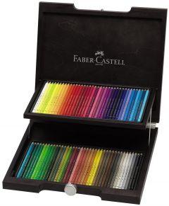 Creioane colorate 72culori/set, cutie lemn, Polychromos Faber Castell-FC110072