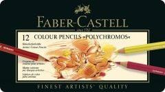 Creioane colorate 12culori/set, cutie metal, Polychromos Faber Castell-FC110012