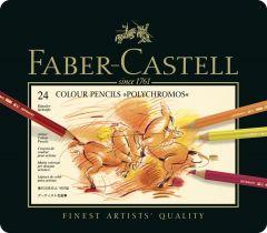 Creioane colorate 24culori/set, cutie metal, Polychromos Faber Castell-FC110024