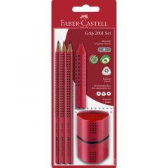Set 3 creioane Grip + guma + ascutitoare, rosu, Faber Castell