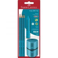 Set 3 creioane Grip + guma + ascutitoare, turcoaz, Faber Castell