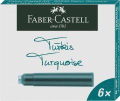 Patroane scurte, cerneala turcoaz, 6buc/set, 185509 Faber Castell
