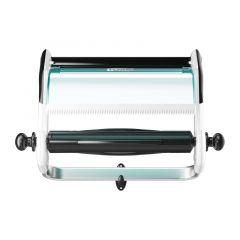 Dispenser perete din metal/plastic turcoaz/alb, pentru lavete industriale, Tork 652100