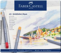 Creioane colorate acuarela, 48culori/set, cutie metal, Goldfaber Aqua, Faber Castell-FC114648