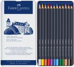 Creioane colorate 12culori/set, cutie metal, Goldfaber, Faber Castell