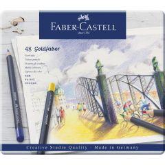 Creioane colorate 48culori/set, cutie metal, Goldfaber, Faber Castell