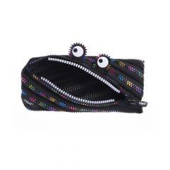 Penar neechipat, 1 fermoar, tip borseta, negru cu dinti curcubeu, Monster Special Edition ZIPIT