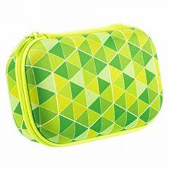 Penar neechipat, 1 fermoar, tip borseta mare, triunghiuri verzi, Colorz Storage ZIPIT