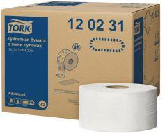 Hartie igienica alba mini jumbo, pt dispenser, 2 straturi, 170ml, 12role/bax Tork Advanced 120231
