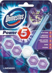 Odorizant solid cu suport pentru toaleta, 55g, Power 5 Lavanda Domestos