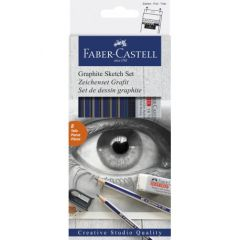 Creioane grafit, radiera si ascutitoare, 8piese/set, Goldfaber, Faber Castell-FC114000