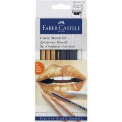 Creioane si radiera pentru desen si schite, 6piese/set, Faber Castell-FC114004