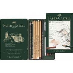 Creioane si radiera pentru desen si schite, 12piese/set, Pitt Monochrome, Faber Castell-FC112975