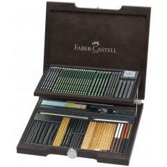 Creioane, carbune si accesorii pentru desen, 95piese/cutie lemn, Pitt Monochrome 2, Faber Castell-FC