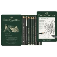 Creioane si accesorii pentru desen si schite, 11piese/set, Pitt Monochrome Grafit, Faber Castell-FC1