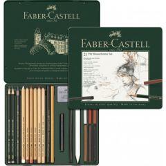 Creioane, carbune si radiere pentru desen si schite, 21piese/set, Pitt Monochrome, Faber Castell-FC1