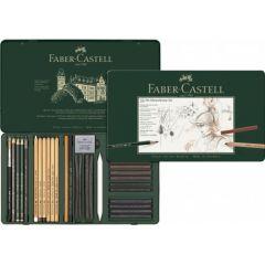 Creioane, carbune si accesorii pentru desen si schite, 33piese/set, Pitt Monochrome, Faber Castell-F