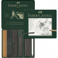 Creioane, carbune si radiera pentru desen si schite, 24piese/set, Pitt Monochrome, Faber Castell-FC1