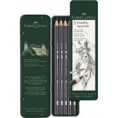 Creioane grafit, in cutie metal, 5 buc/set, Graphite Aquarelle, Faber Castell-FC117805