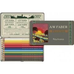 Creioane colorate, in cutie metal, 12culori/set, Polychromos, Faber Castell