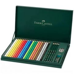 Creioane colorate, grafit si accesorii, 26piese/set, Polychromos si Castell9000, Faber Castell-FC210
