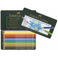 Creioane colorate acuarela, in cutie metal, 12culori/set, A.Durer, Faber Castell-FC117512