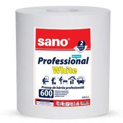 Prosop hartie alba industrial, 2 straturi, 2 kg, Professional White 600 Sano