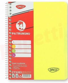 Caiet cu spira A5, 120file, matematica si dictando, coperta plastic galben, 4 subiecte, Eminent Daco