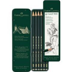 Creioane grafit, in cutie metal, 6 buc/set, Castell 9000, Faber Castell-FC119063