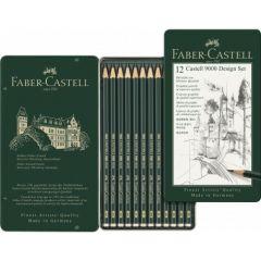 Creioane grafit, in cutie metal, 12 buc/set, Design, Castell 9000, Faber Castell-FC119064