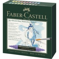 Markere solubile in apa, 20culori/set, A.Durer, Faber Castell-FC160320