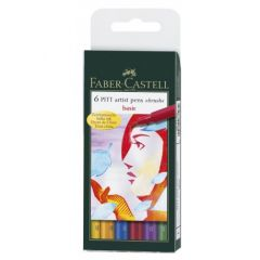 Permanent marker, 6culori/set, varf pensula, pentru desen,schite, PittArtistPen, FaberCastell-167103