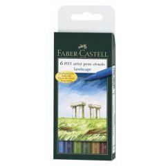 Permanent marker, 6culori/set, varf pensula, pentru desen,schite, PittArtistPen, FaberCastell-167105