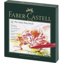 Permanent marker, 12culori/set, varf pensula, cutie studio, Pitt Artist Pen, FC167146,  Faber Castel