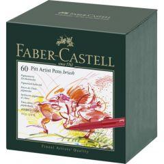 Permanent marker, 60culori/set, varf pensula, cutie studio, Pitt Artist Pen, Faber Castell