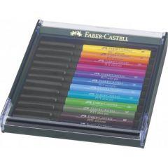 Permanent marker, 12culori/set, varf pensula, nuante basic, Pitt Artist Pen, Faber Castell-267421