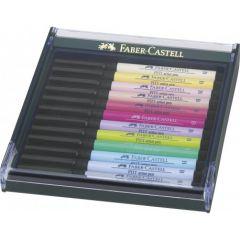 Permanent marker, 12culori/set, varf pensula, nuante pastel, Pitt Artist Pen, Faber Castell-267420