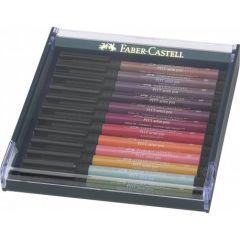Permanent marker, 12culori/set, varf pensula, nuante pamant, Pitt Artist Pen, Faber Castell-267422