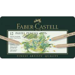 Creioane colorate, in cutie metal, 12culori/set, Pastel Pitt, Faber Castell