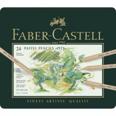 Creioane colorate, in cutie metal, 24culori/set, Pastel Pitt, Faber Castell