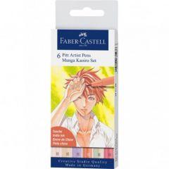 Liner, 6culori/set, varf pensula, Kaoiro, Pitt Artist Pen Manga, Faber Castell-FC167168