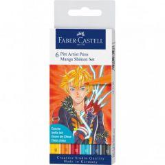 Liner, 6culori/set, varf pensula, Shonen, Pitt Artist Pen Manga, Faber Castell-FC167157